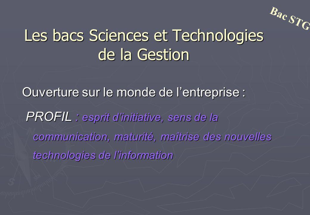 Les bacs Sciences et Technologies de la Gestion Ouverture sur le monde de lentreprise : PROFIL : esprit dinitiative, sens de la communication, maturit