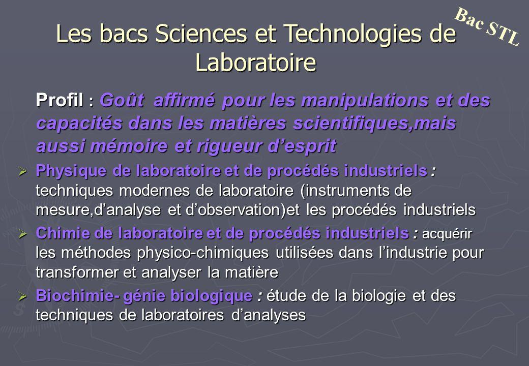 Les bacs Sciences et Technologies de Laboratoire Profil : Goût affirmé pour les manipulations et des capacités dans les matières scientifiques,mais au