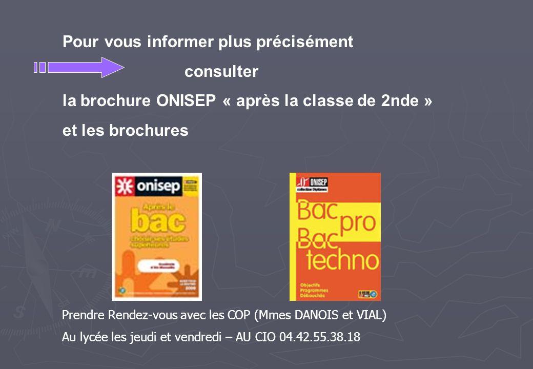 Pour vous informer plus précisément consulter la brochure ONISEP « après la classe de 2nde » et les brochures Prendre Rendez-vous avec les COP (Mmes D