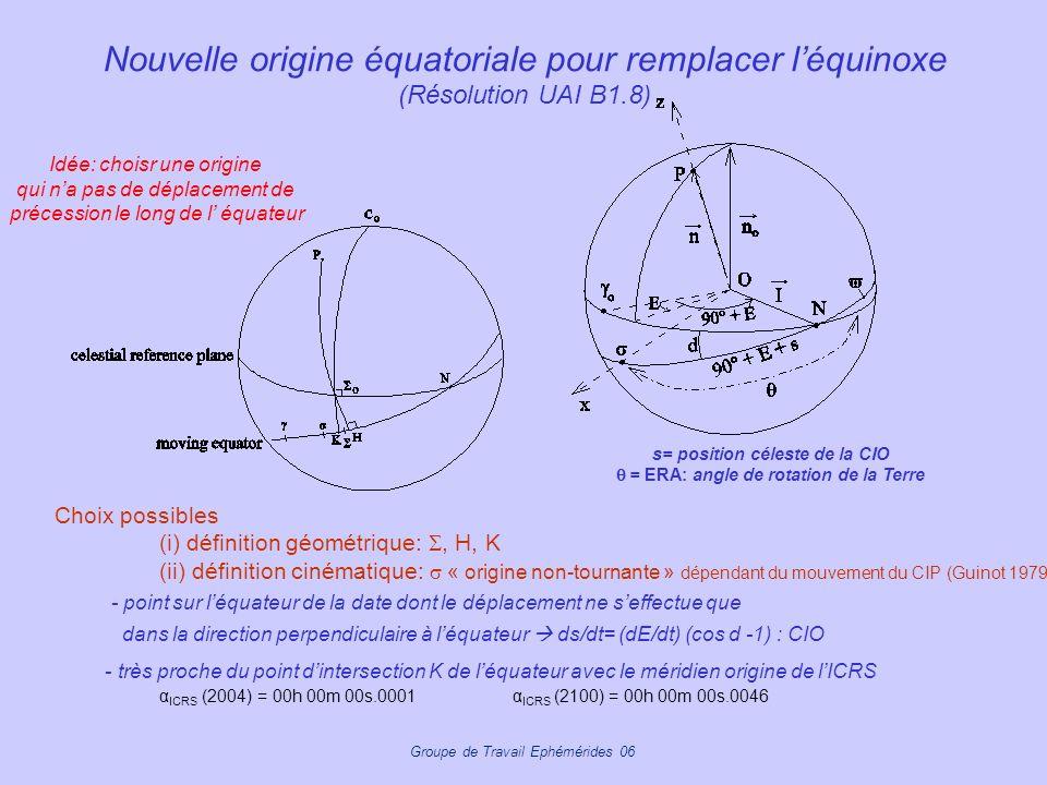 Groupe de Travail Ephémérides 06 Nouvelle origine équatoriale pour remplacer léquinoxe (Résolution UAI B1.8) Choix possibles (i) définition géométriqu