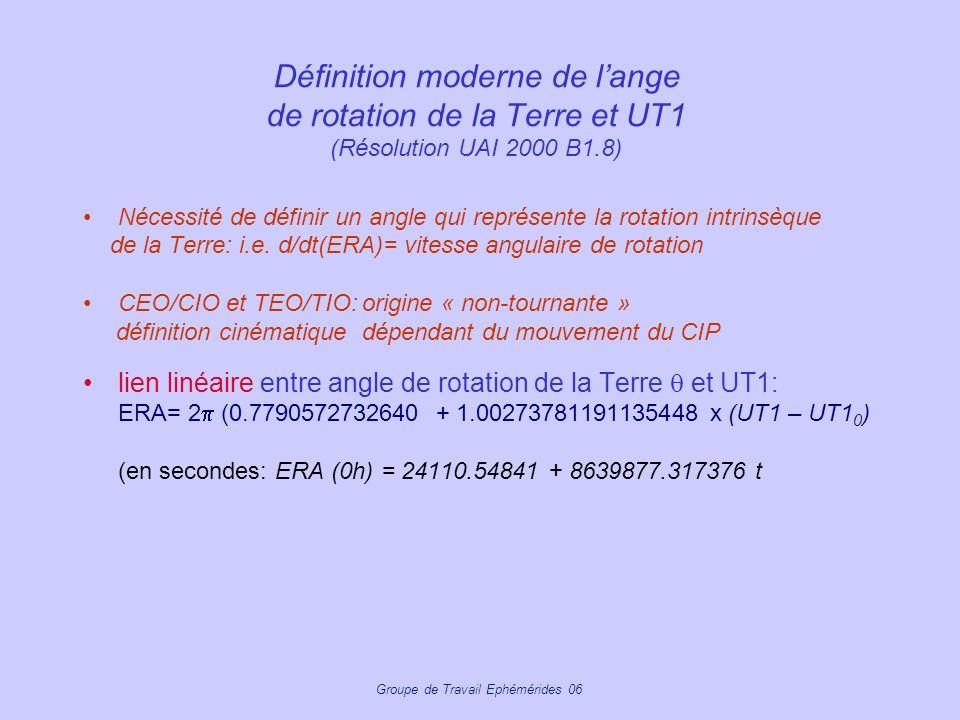 Groupe de Travail Ephémérides 06 Définition moderne de lange de rotation de la Terre et UT1 (Résolution UAI 2000 B1.8) Nécessité de définir un angle q