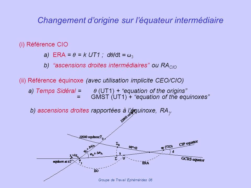 Changement dorigine sur léquateur intermédiaire (i) Référence CIO a) ERA = = k UT1 ; d dt b) ascensions droites intermédiaires ou RA CIO (ii) Référenc