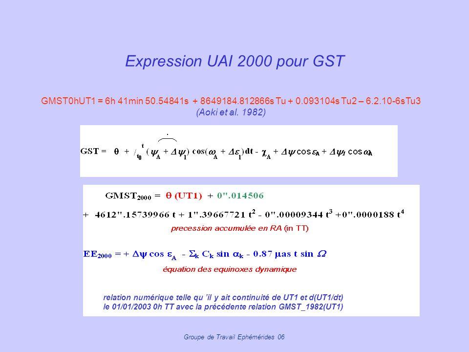 Groupe de Travail Ephémérides 06 Expression UAI 2000 pour GST relation numérique telle qu il y ait continuité de UT1 et d(UT1/dt) le 01/01/2003 0h TT