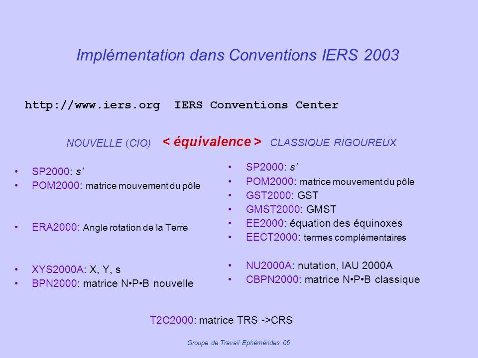Groupe de Travail Ephémérides 06 Implémentation dans Conventions IERS 2003 NOUVELLE (CIO) SP2000: s POM2000: matrice mouvement du pôle ERA2000: Angle