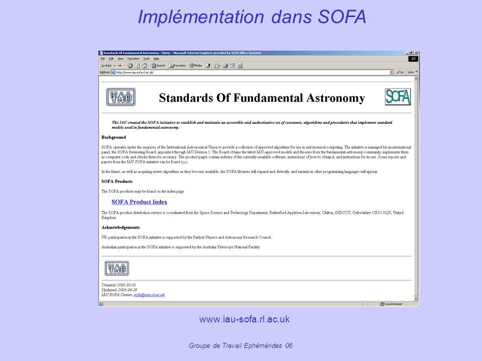 Groupe de Travail Ephémérides 06 www.iau-sofa.rl.ac.uk Implémentation dans SOFA