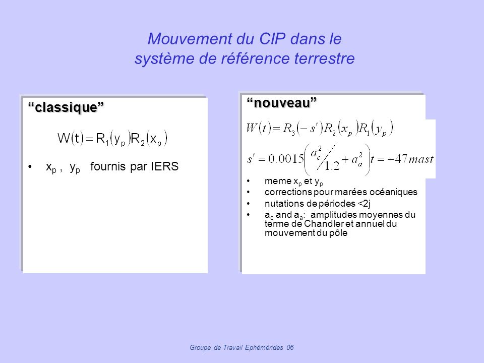 Groupe de Travail Ephémérides 06 Mouvement du CIP dans le système de référence terrestre classique x p, y p fournis par IERS nouveau même x p et y p c
