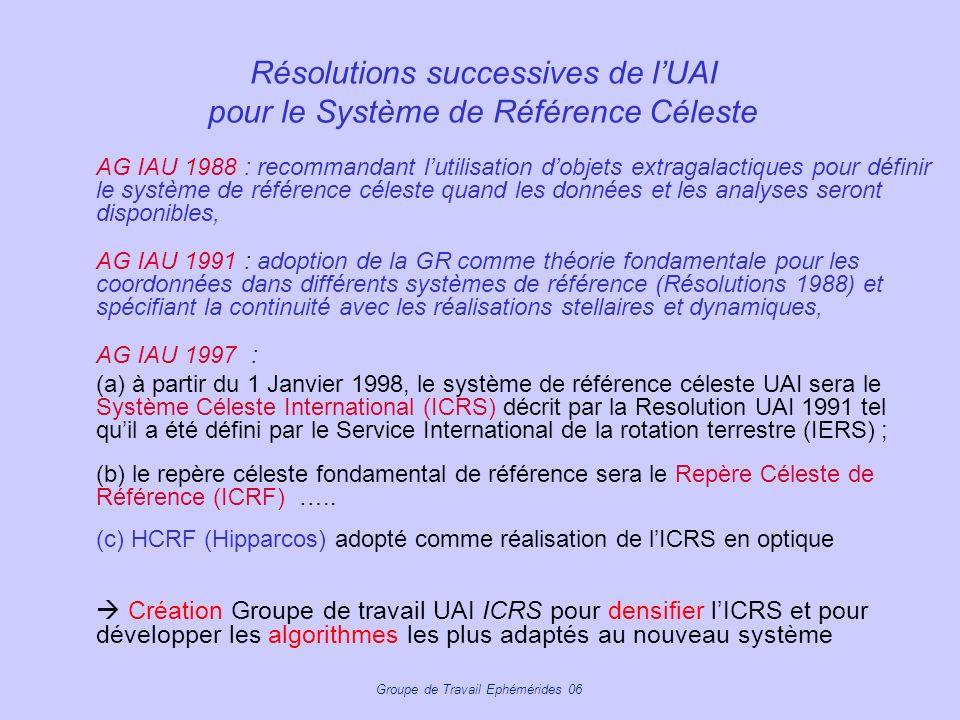 Groupe de Travail Ephémérides 06 Résolutions successives de lUAI pour le Système de Référence Céleste AG IAU 1988 : recommandant lutilisation dobjets