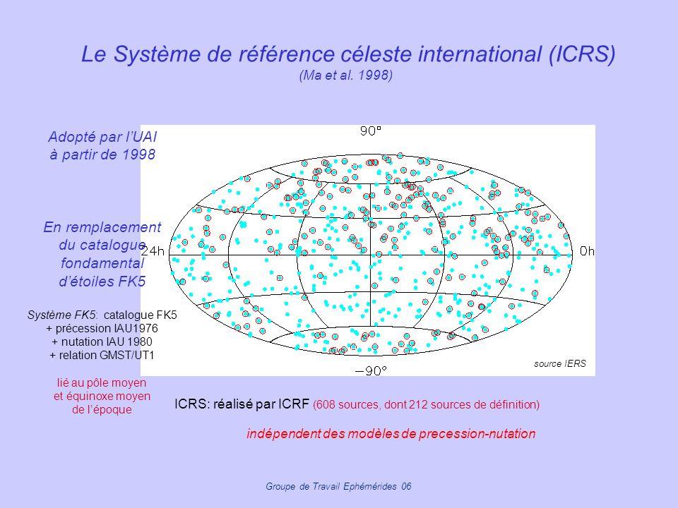 Groupe de Travail Ephémérides 06 Le Système de référence céleste international (ICRS) (Ma et al. 1998) ICRS: réalisé par ICRF (608 sources, dont 212 s