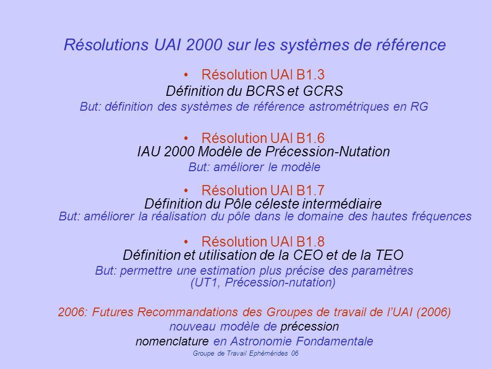 Groupe de Travail Ephémérides 06 Résolutions UAI 2000 sur les systèmes de référence Résolution UAI B1.3 Définition du BCRS et GCRS But: définition des