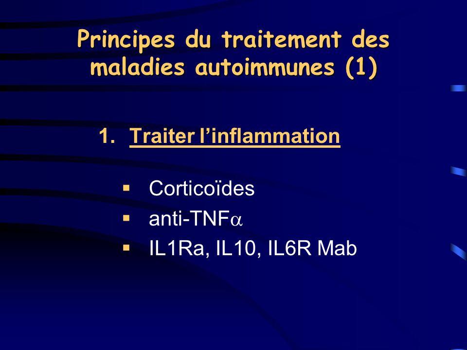Principes du traitement des maladies autoimmunes (1) 1.Traiter linflammation Corticoïdes anti-TNF IL1Ra, IL10, IL6R Mab
