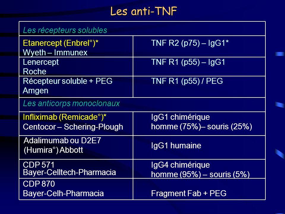 Les anti-TNF Les récepteurs solubles Etanercept (Enbrel°)* Wyeth – Immunex TNF R2 (p75) – IgG1* Lenercept Roche TNF R1 (p55) – IgG1 Récepteur soluble