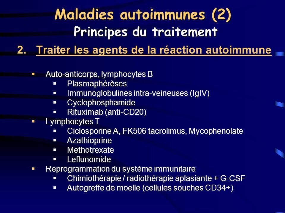 2.Traiter les agents de la réaction autoimmune Auto-anticorps, lymphocytes B Plasmaphérèses Immunoglobulines intra-veineuses (IgIV) Cyclophosphamide R