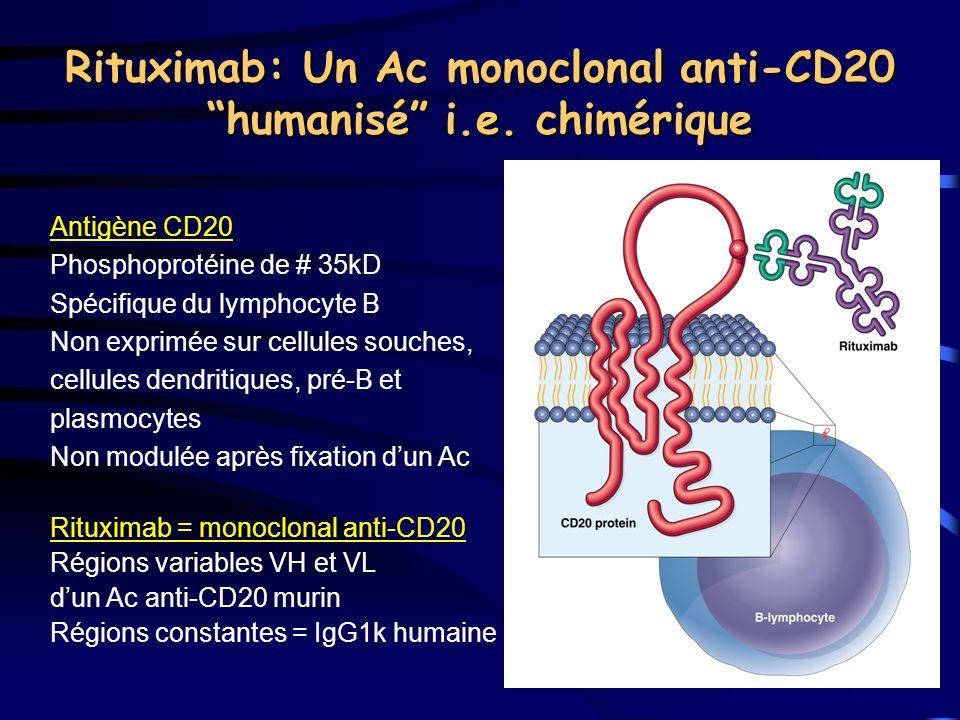 Rituximab: Un Ac monoclonal anti-CD20 humanisé i.e. chimérique Antigène CD20 Phosphoprotéine de # 35kD Spécifique du lymphocyte B Non exprimée sur cel