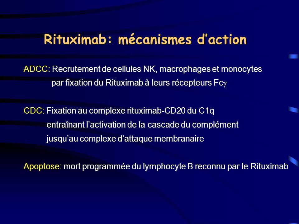 ADCC: Recrutement de cellules NK, macrophages et monocytes par fixation du Rituximab à leurs récepteurs Fc CDC: Fixation au complexe rituximab-CD20 du