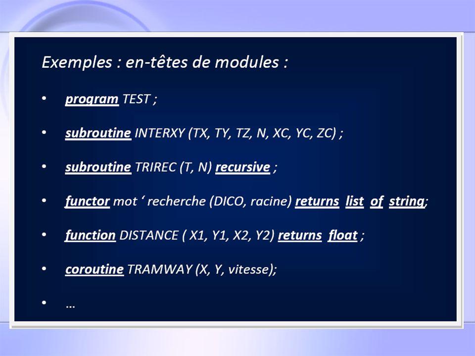 Les tâches associées à la BNF traitant len-tête Tâche : @1000# : Traitement de la nature du module Tâche : @1001#: Traitement du nom de module + traitement du préfixe dans le cas dun foncteur Insertion du préfixe dans la TPPF