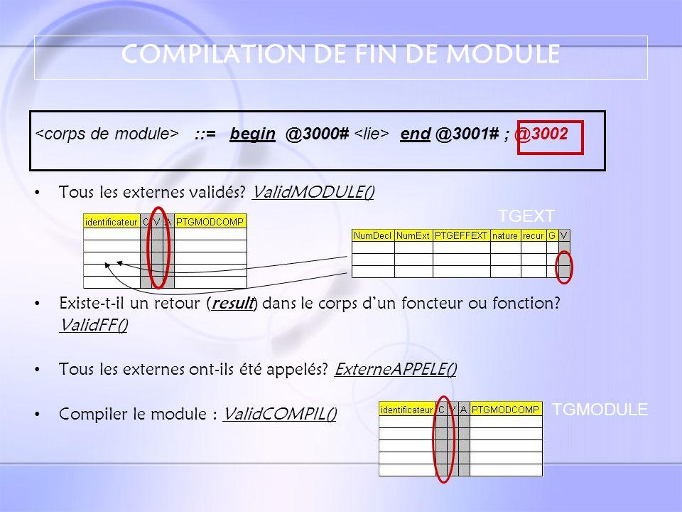 EDITION DE LIEN Valide les modules – Condition : ses externes doivent être validés – Condition : chaque module doit avoir été appelé au moins une fois .