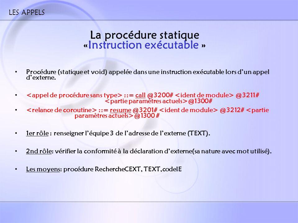 LES APPELS La procédure statique «Entete_fct » Procédure (statique et void) appelée dans une expression lors dun appel dexterne (juste après « ident de module ») ::= FUNCTION ::= FUNCTOR [ ] Un rôle multiple : – Donner ladresse de lexterne dans TEXT – Donner le genre de lexterne – Donner le type de lexterne Les moyens : Nom_externe, RechercheCEXT et TEXT