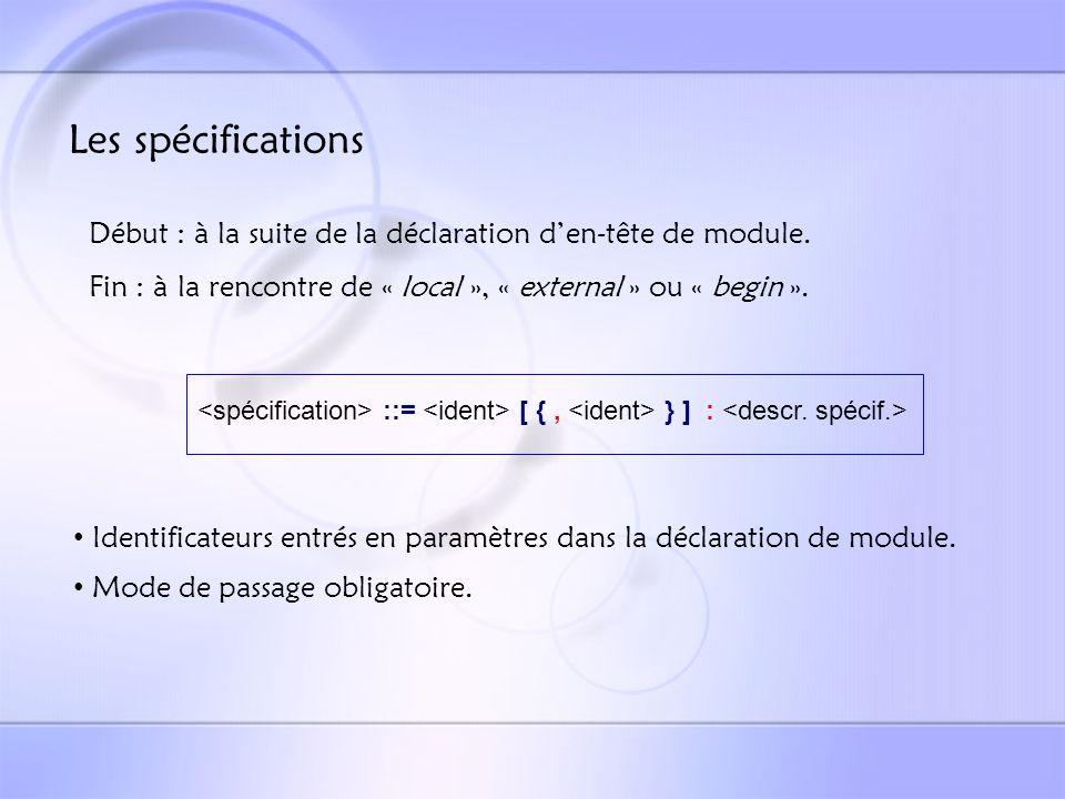 ::= @2905# [ {, @2014# @2905# } ] : @2014# ::= | | | ::= list @2008# [ of @2012# [ @2901# ] ] ::= @2007# Exemple de spécification : X, Y, Z : list of integer in ; Partie de la BNF correspondante et tâches associées :