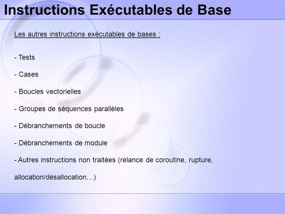 Instructions Exécutables de Base La table des tests