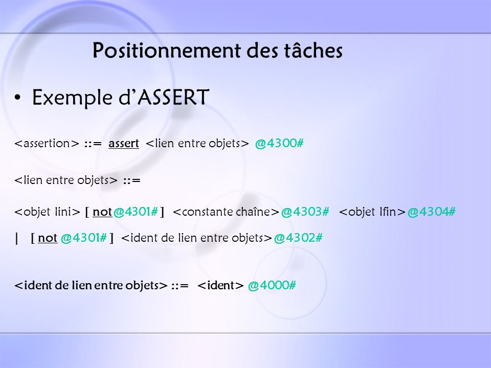 Positionnement des tâches Exemple dASSERT ::= assert @4300# ::= [ not@4301# ] @4303# @4304# | [ not @4301# ] @4302# ::= @4000#