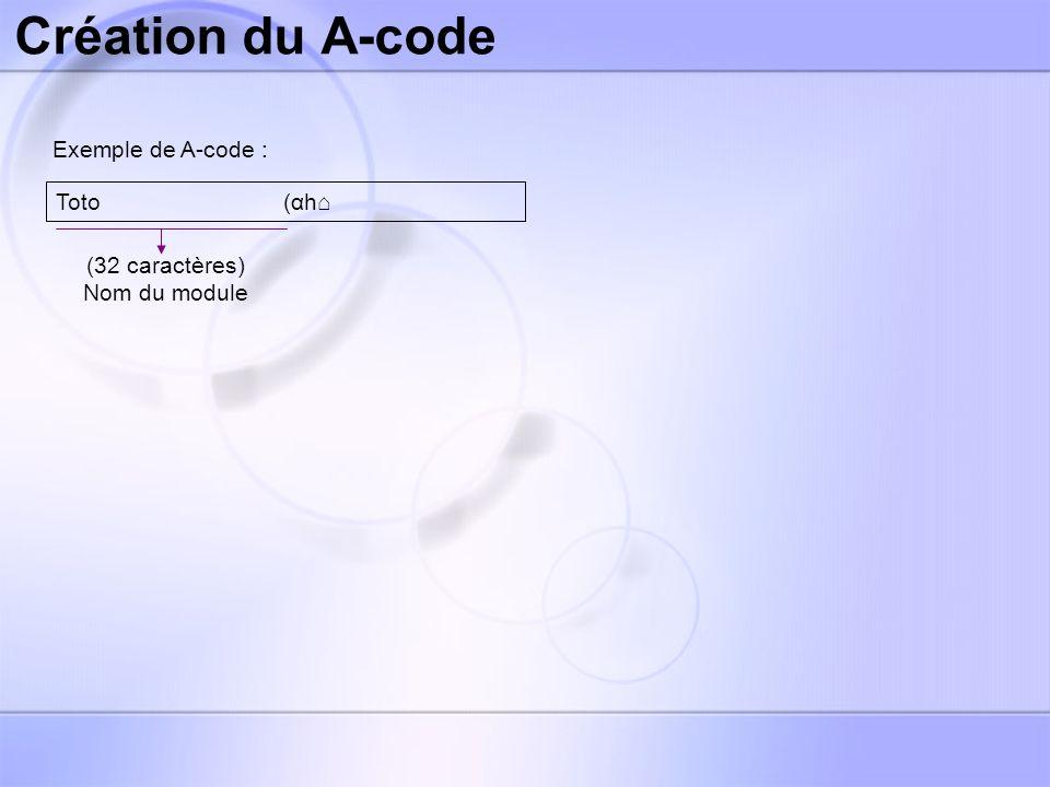 Création du A-code Exemple de A-code : Toto (αh (4 caractères) Nature, récursivité, nombre de paramètres, etc.