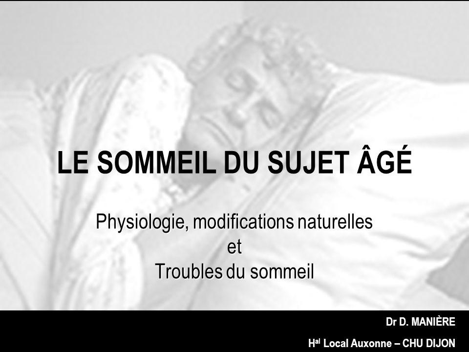 STADES Stades III et IV = sommeil lent profond (SLP) calme EEG mais mouvements ++ grande difficulté à réveiller le dormeur si réveil confusion avec vieillissement Sommeil paradoxal (SP) Hyperactivité cérébrale ( veille) Corps au repos Rêves +++ Stable avec vieillissement