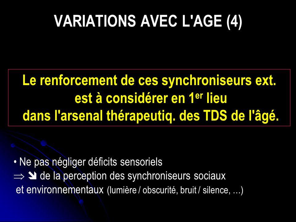 VARIATIONS AVEC L AGE (4) Le renforcement de ces synchroniseurs ext.