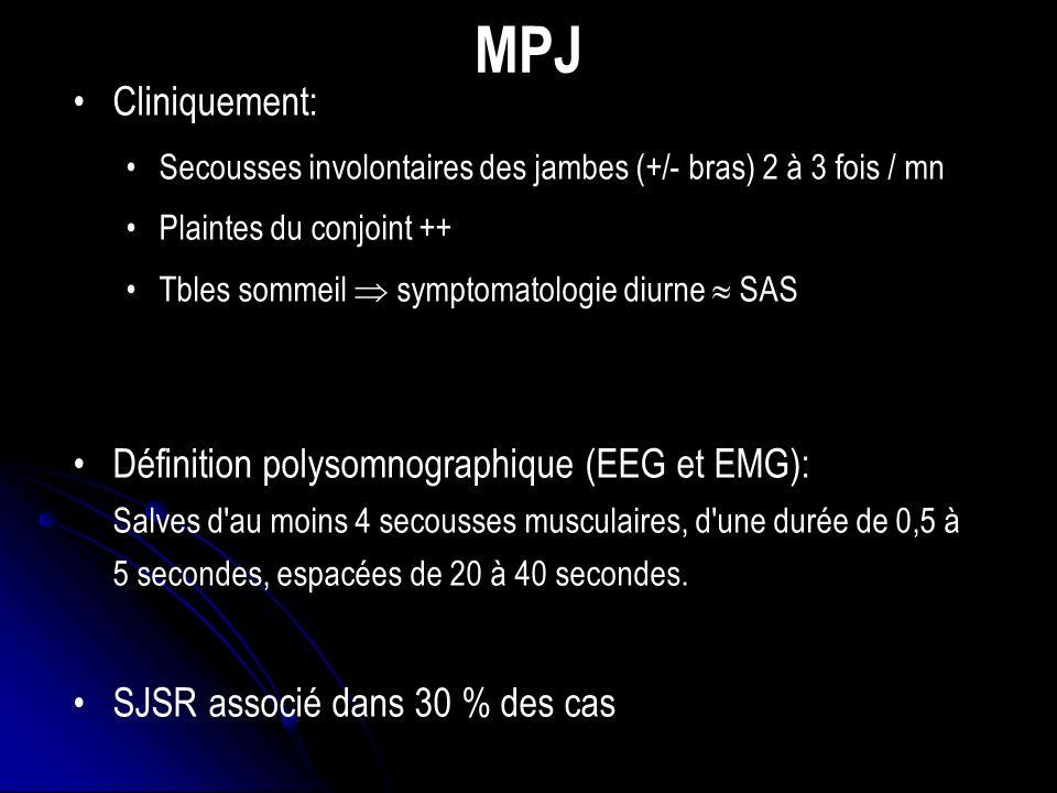 MPJ Cliniquement: Secousses involontaires des jambes (+/- bras) 2 à 3 fois / mn Plaintes du conjoint ++ Tbles sommeil symptomatologie diurne SAS Définition polysomnographique (EEG et EMG): Salves d au moins 4 secousses musculaires, d une durée de 0,5 à 5 secondes, espacées de 20 à 40 secondes.