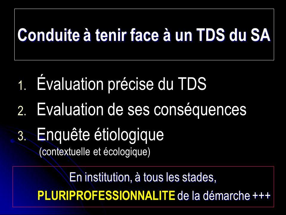 Conduite à tenir face à un TDS du SA 1.1. Évaluation précise du TDS 2.