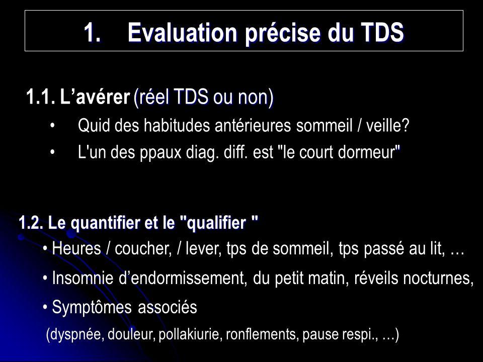 1.Evaluation précise du TDS (réel TDS ou non) 1.1.