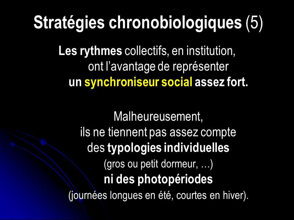 Stratégies chronobiologiques (5) Les rythmes collectifs, en institution, ont lavantage de représenter un synchroniseur social assez fort.
