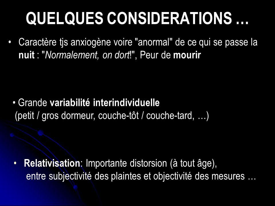 VARIATIONS AVEC L AGE (2) Plus gde sensibilité / environnement (bruits, lumière, vibrations, …) Sommeil polyphasique : siestes diurnes Modification de lorganisation interne du sommeil ( du SLP, SP plus précoce, St 1,…) Modif.