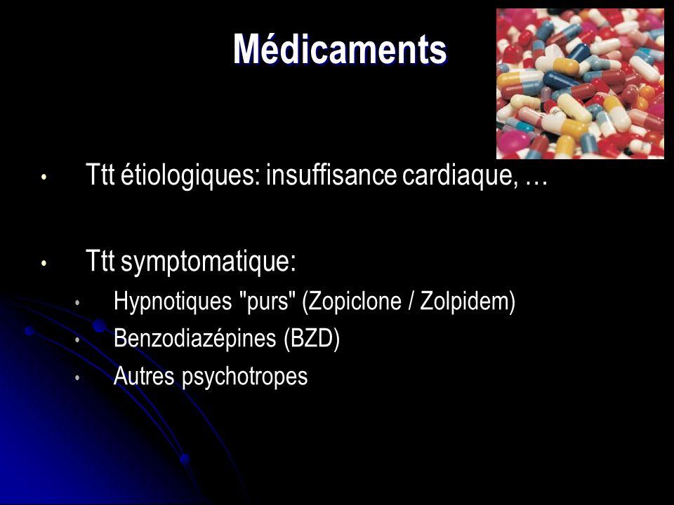 Médicaments Ttt étiologiques: insuffisance cardiaque, … Ttt symptomatique: Hypnotiques purs (Zopiclone / Zolpidem) Benzodiazépines (BZD) Autres psychotropes