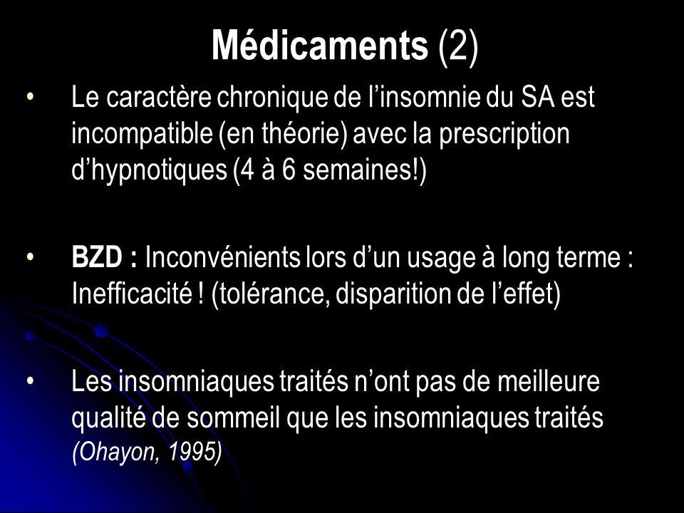 Médicaments (2) Le caractère chronique de linsomnie du SA est incompatible (en théorie) avec la prescription dhypnotiques (4 à 6 semaines!) BZD : Inconvénients lors dun usage à long terme : Inefficacité .