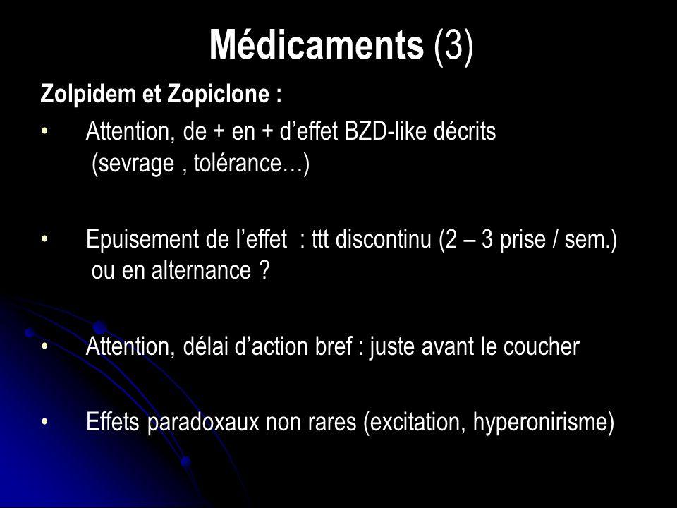 Médicaments (3) Zolpidem et Zopiclone : Attention, de + en + deffet BZD-like décrits (sevrage, tolérance…) Epuisement de leffet : ttt discontinu (2 – 3 prise / sem.) ou en alternance .