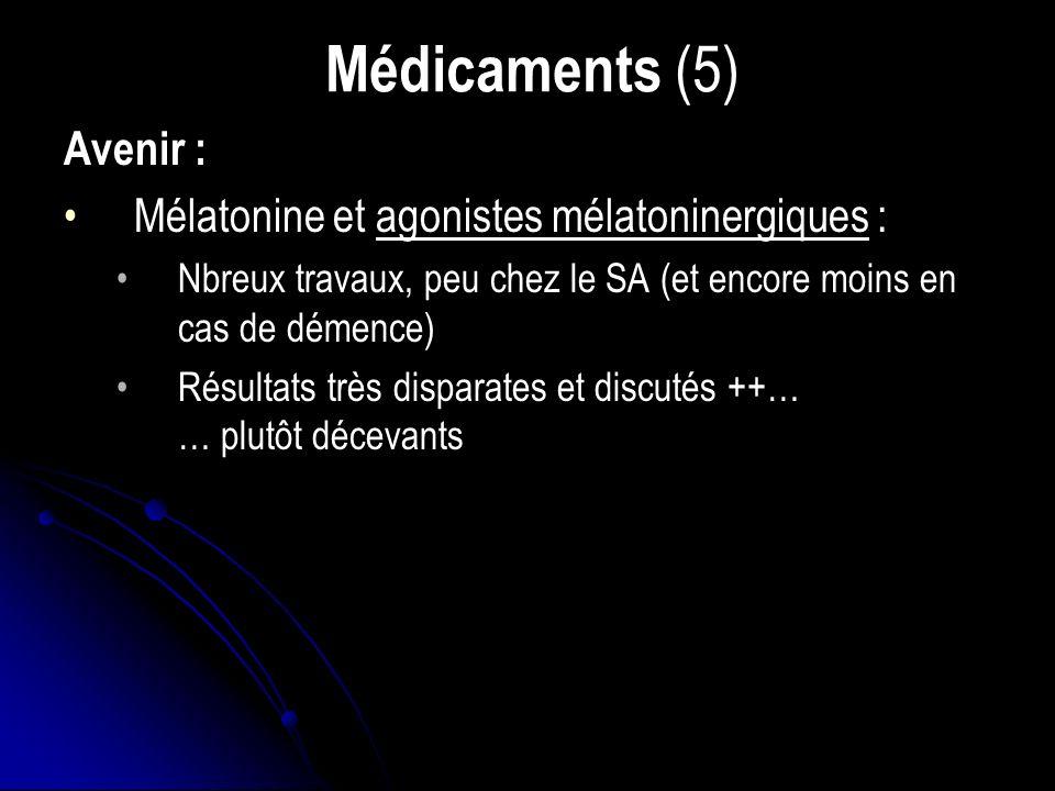 Médicaments (5) Avenir : Mélatonine et agonistes mélatoninergiques : Nbreux travaux, peu chez le SA (et encore moins en cas de démence) Résultats très disparates et discutés ++… … plutôt décevants
