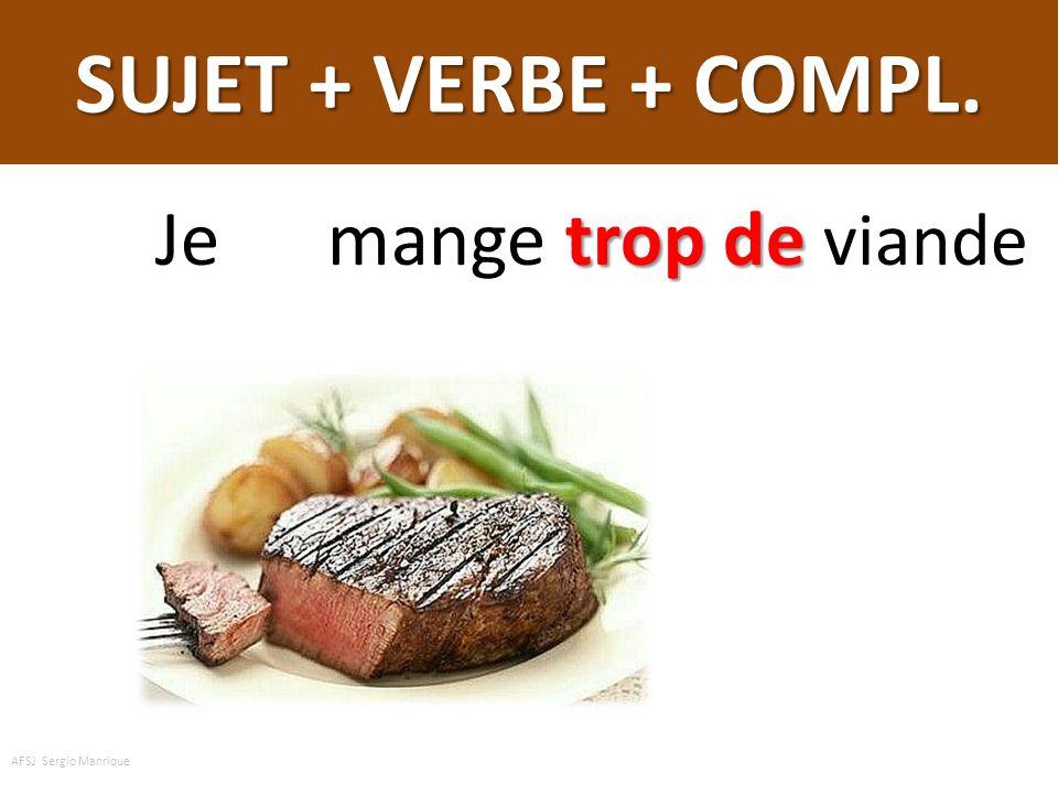SUJET + VERBE + COMPL. trop de Je mange trop de viande AFSJ Sergio Manrique