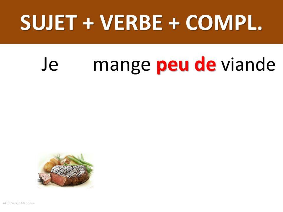 SUJET + VERBE + COMPL. peu de Je mange peu de viande AFSJ Sergio Manrique
