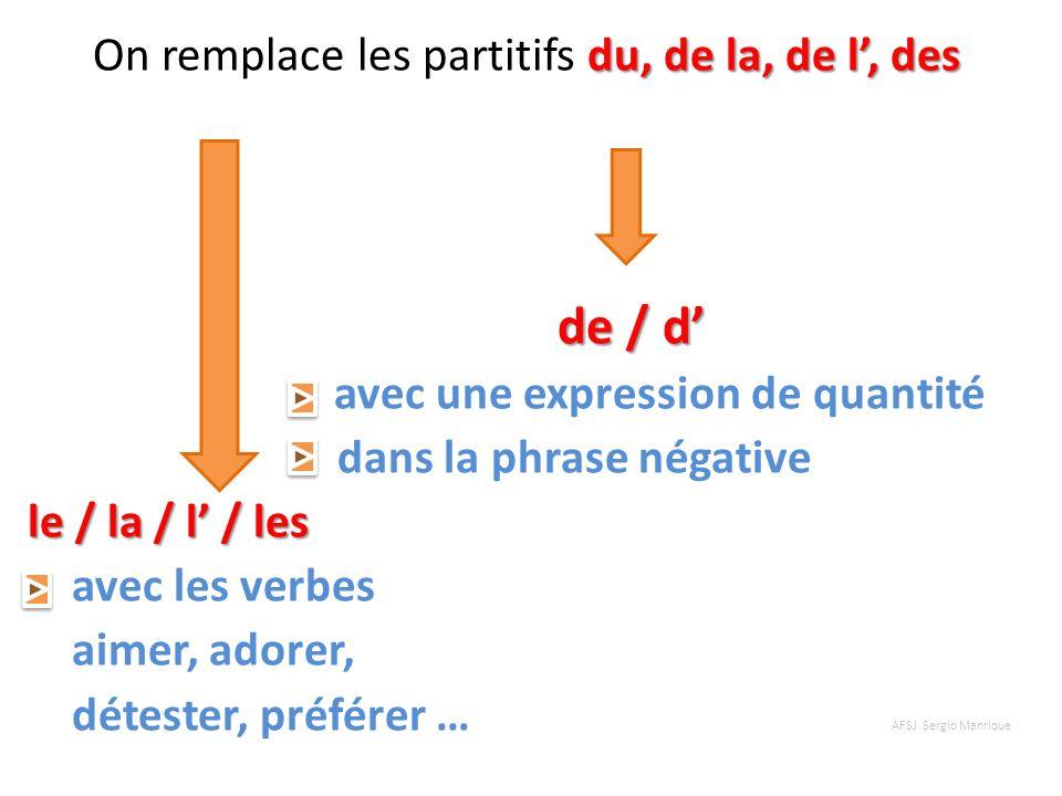 du, de la, de l, des On remplace les partitifs du, de la, de l, des de / d de / d avec une expression de quantité dans la phrase négative le / la / l
