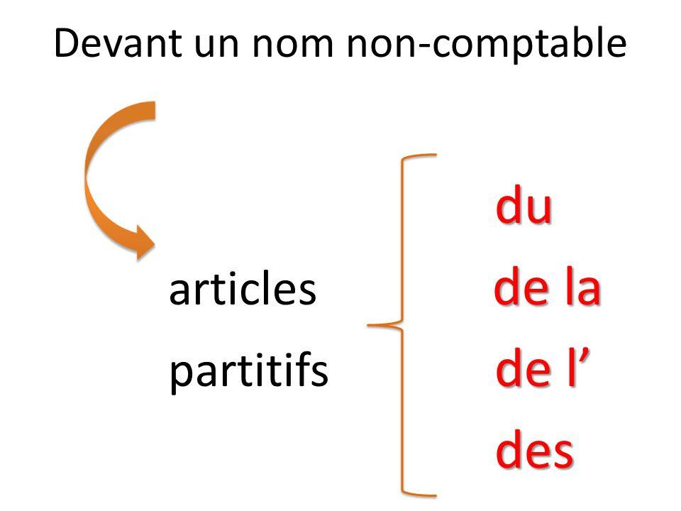Devant un nom non-comptabledu de la articles de la de l partitifs de ldes