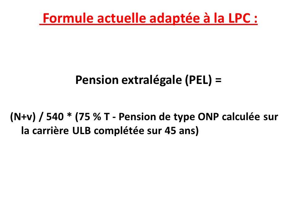 Formule actuelle adaptée à la LPC : PEL = (N+v) / 540*(75% T - Pension de type ONP calculée sur la carrière ULB complétée sur 45 ans) Méthode de calcul de la PEL – ancien système – «formule complétée» et adaptée à la LPC – Article 21 – Rente uniquement.