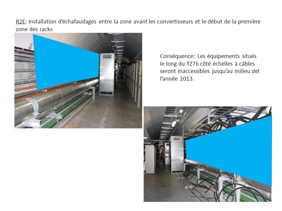 R2E: Installation déchafaudages entre la zone avant les convertisseurs et le début de la première zone des racks Conséquence: Les équipements situés le long du TZ76 côté échelles à câbles seront inaccessibles jusquau milieu del lannée 2013.