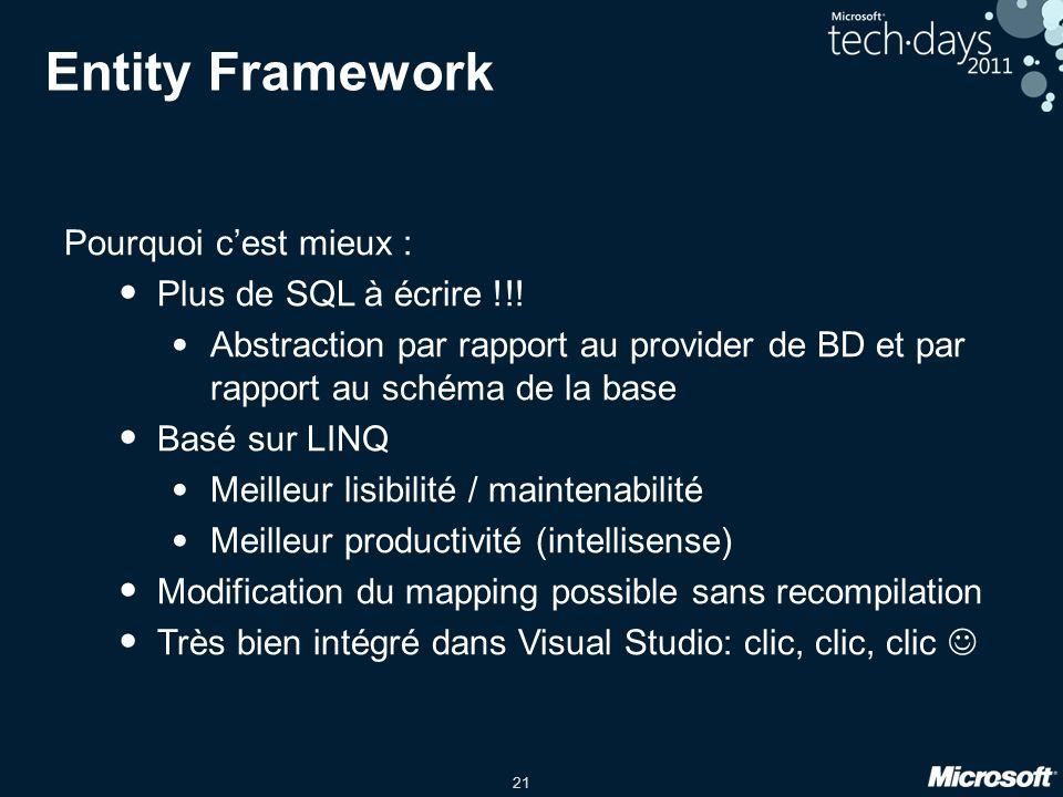 21 Entity Framework Pourquoi cest mieux : Plus de SQL à écrire !!! Abstraction par rapport au provider de BD et par rapport au schéma de la base Basé