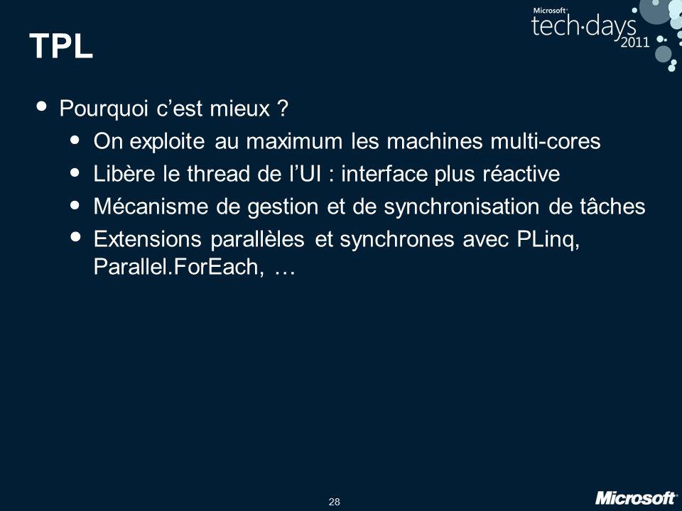 28 TPL Pourquoi cest mieux ? On exploite au maximum les machines multi-cores Libère le thread de lUI : interface plus réactive Mécanisme de gestion et