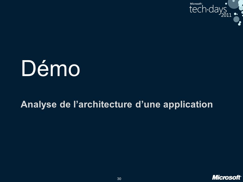 30 Démo Analyse de larchitecture dune application