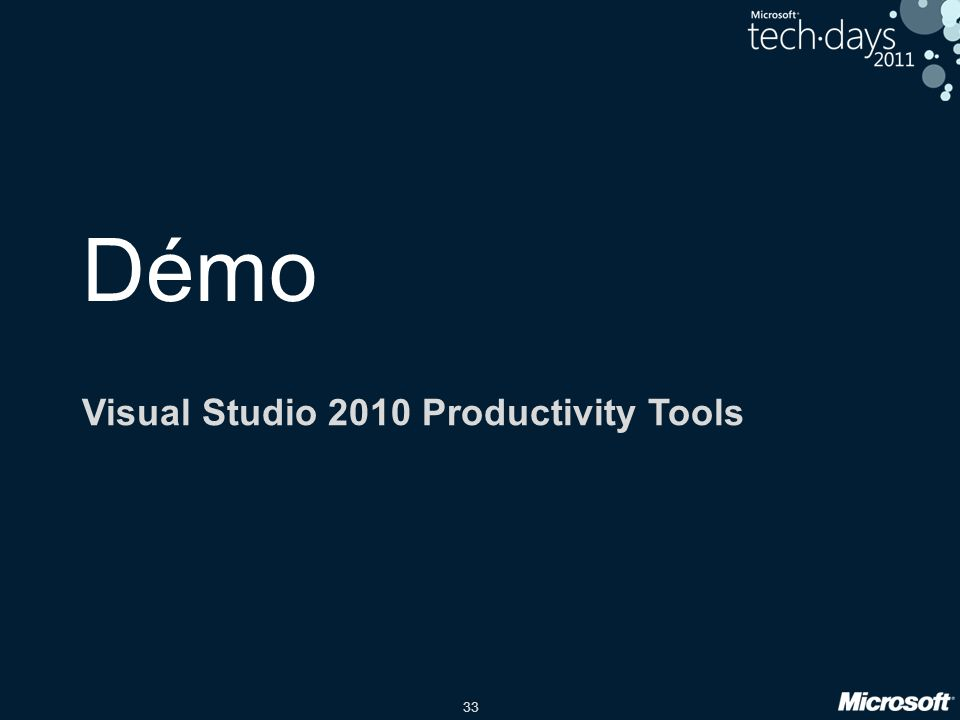 33 Démo Visual Studio 2010 Productivity Tools