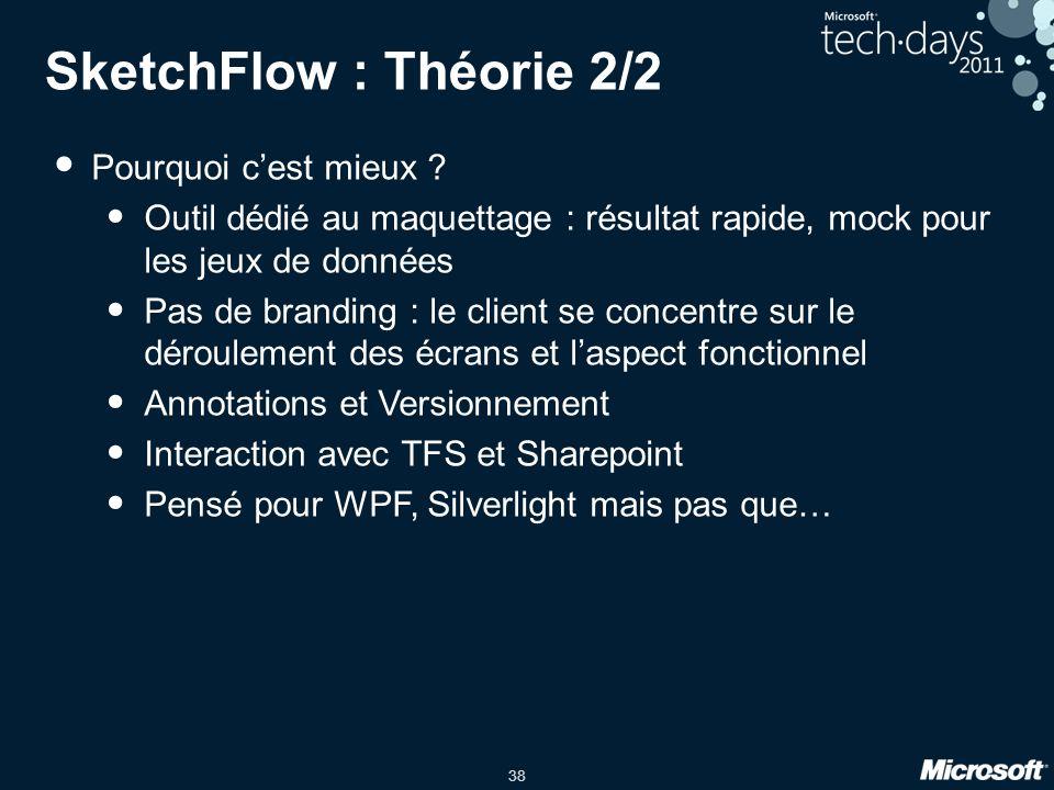 38 SketchFlow : Théorie 2/2 Pourquoi cest mieux ? Outil dédié au maquettage : résultat rapide, mock pour les jeux de données Pas de branding : le clie