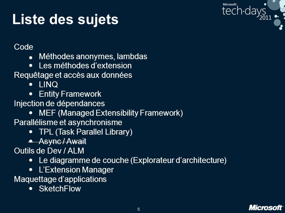 5 Liste des sujets Code Méthodes anonymes, lambdas Les méthodes dextension Requêtage et accès aux données LINQ Entity Framework Injection de dépendanc