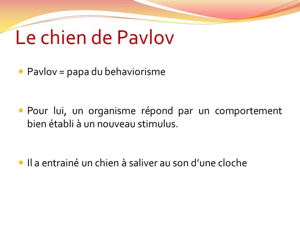 Le chien de Pavlov Pavlov = papa du behaviorisme Pour lui, un organisme répond par un comportement bien établi à un nouveau stimulus. Il a entrainé un