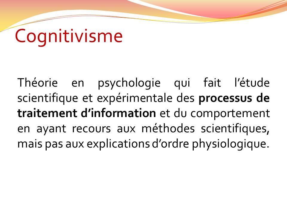 Cognitivisme Théorie en psychologie qui fait létude scientifique et expérimentale des processus de traitement dinformation et du comportement en ayant recours aux méthodes scientifiques, mais pas aux explications dordre physiologique.